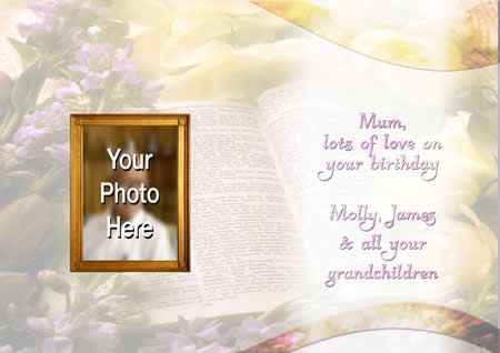 BIBLE inside  personalised card