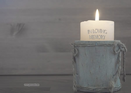 CANDLE outside  personalised card