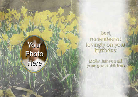 DAFFODIL inside  personalised card