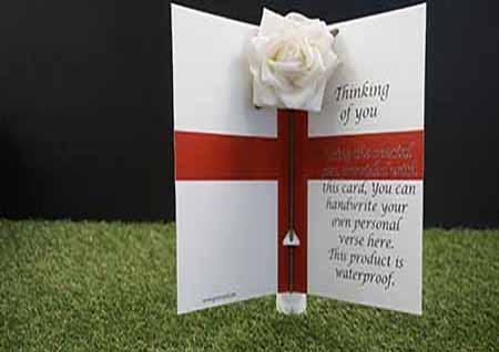 Graveside flowers, graveside ornaments, graveside decoration, Grave headstones, Undertakers , funeral directors , funeral arrangers. Flowers for a graveside england flag card